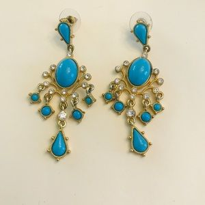 Jewelry - AR Blue and Gold Chandelier Earrings